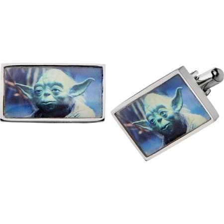 Men's Star Wars Yoda Graphic Stainless Steel Rectangular Cufflinks thumb