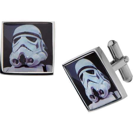 Men's Star Wars Stormtrooper Graphic Stainless Steel Square Cufflinks thumb