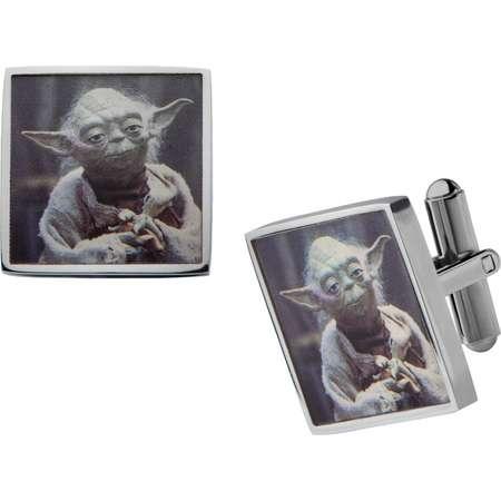 Men's Star Wars Yoda Graphic Stainless Steel Square Cufflinks thumb