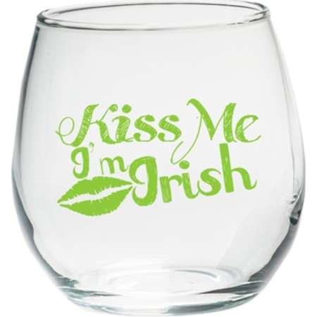 4ct Kate Aspen Kiss Me I'm Irish Stemless Wine Glass thumb