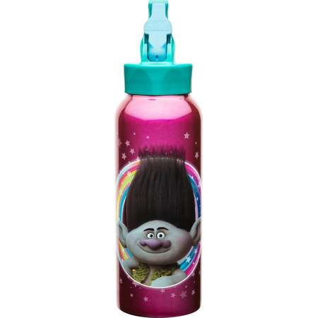 DreamWorks Trolls 25oz Stainless Steel Kids' Water Bottle with Straw Lid - Pink thumb