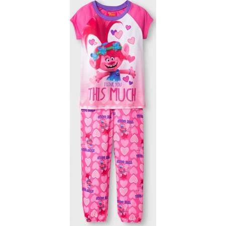 Girls' Trolls Poppy 2pc Pajama Set - Pink thumb