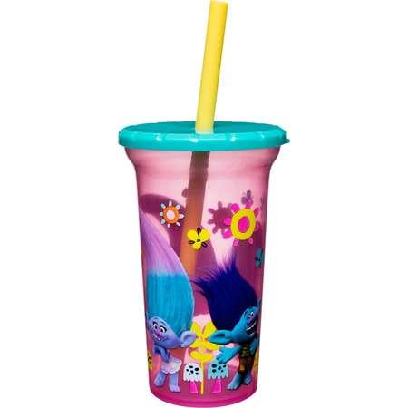 Trolls Zak Designs Plastic Tumbler With Lid & Straw 15oz - Pink/Yellow thumb