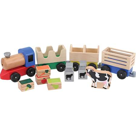 Melissa & Doug® Wooden Farm Train Set - Classic Wooden Toy (3 linking cars) thumb