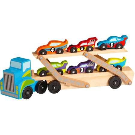 Melissa & Doug® Mega Race-Car Carrier - Wooden Tractor and Trailer With 6 Unique Race Cars thumb