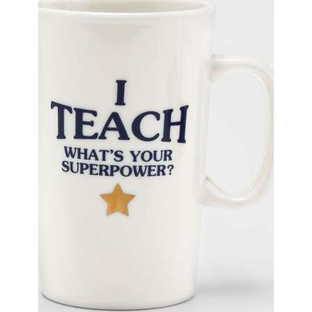 16oz Porcelain I Teach, What's Your Super Power Mug White - Threshold™ thumb