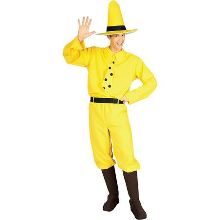 Men's Curious George Man In Yellow Hat Costume - One Size Fits Most thumb