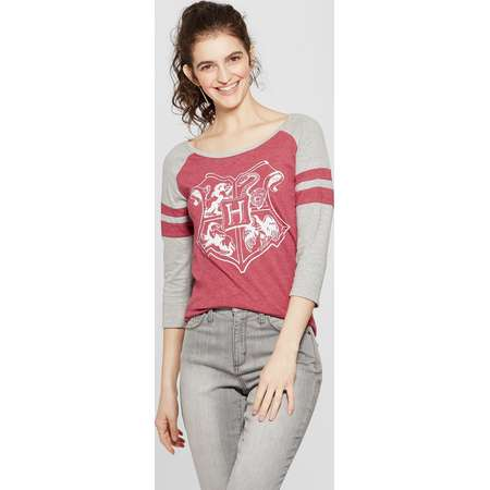 Women's Harry Potter 3/4 Sleeve Hogwarts Crest Raglan Graphic T-Shirt (Juniors') Burgundy thumb