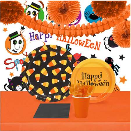 Halloween Candy Corn 16 Guest Tableware Room Decoration Kit thumb