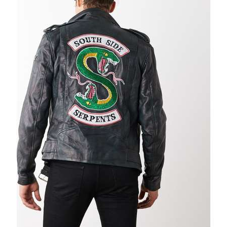 Mens Riverdale Southside Serpents Leather Motorcycle Jacket thumb