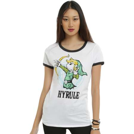 The Legend of Zelda: The Wind Waker Link Hyrule Girls Ringer T-Shirt thumb
