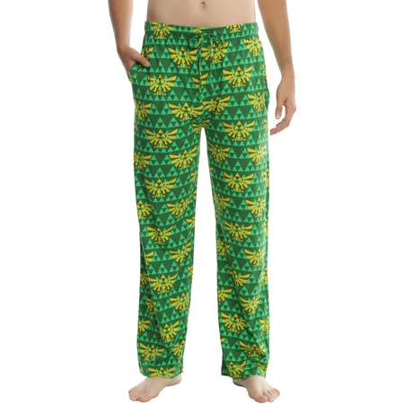 The Legend Of Zelda Dark Green & Gold Triforce Guys Pajama Pants thumb