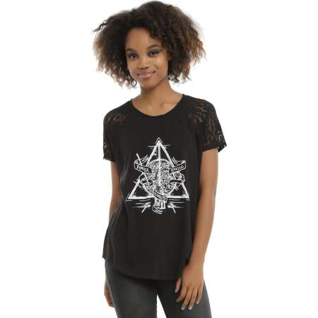 4541a0187c0 Harry Potter Deathly Hallows Keyhole Back Girls T-Shirt thumb