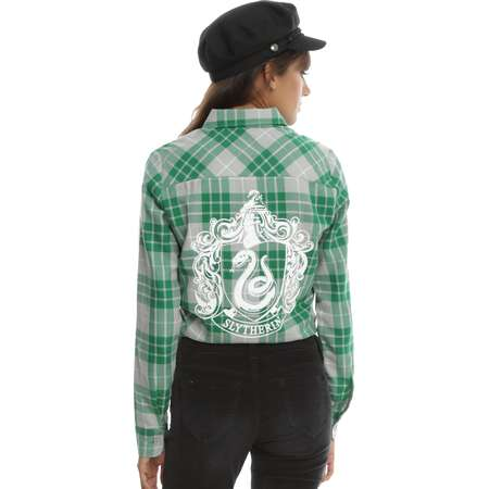Harry Potter Slytherin Plaid Girls Woven Button-Up thumb