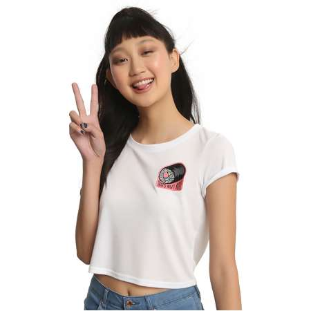 That's How I Roll Sushi Patch Girls Crop Top thumb