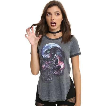 Jurassic Park Moon Girls Ringer T-Shirt thumb