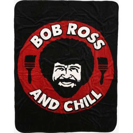 Bob Ross And Chill Red Throw Blanket thumb