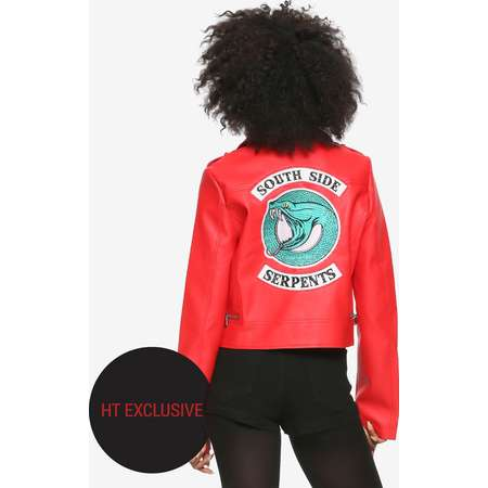 Riverdale Cheryl Southside Serpents Faux Leather Red Girls Jacket Hot Topic Exclusive thumb