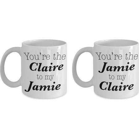 Outlander Inspired Mugs, Jamie Fraser Mug, Matching Couple Set Jamie and Claire Fraser Coffee Cups thumb