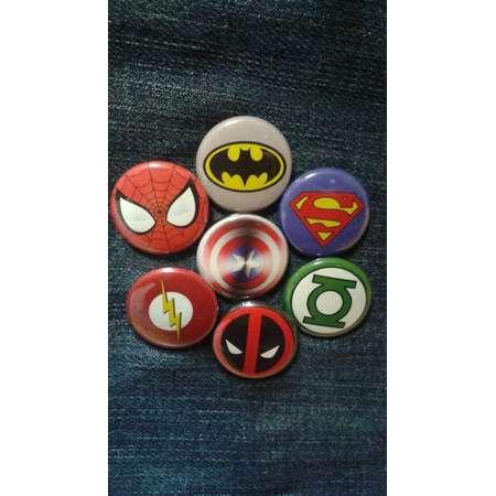 "Superhero logos button set 1"" pinback Marvel DC Comics Spiderman Superman Batman Captain America Deadpool Green Lantern Flash thumb"