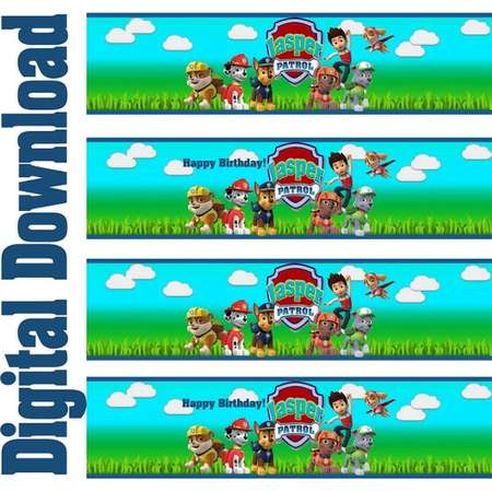 Paw Patrol Water Bottle Labels, Paw Patrol Wrap Labels, Paw Patrol Birthday Party Decorations, Party Supplies, Drink Labels, thumb