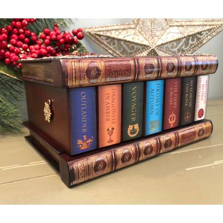 Tribute to Outlander —  FREE Earrings, Jamie Fraser, Sam Heughan, Jamie and Claire, Puzzle Box, Book box, Gabaldon books, Book jewelry box thumb