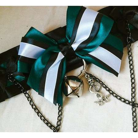 SLYTHERIN Kitten Play Collar Death Eaters, Draco Malfoy Cosplay Bdsm Collar, Harry Potter Cosplay Kitten Play Collar, Green and Black Bdsm thumb