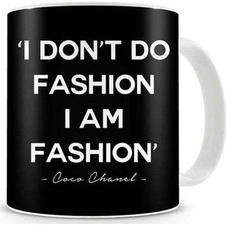 Black & White 'I don't do fashion, I am fashion' Coco Chanel Quote Ceramic 11oz Mug, Unique / Gift, classy, fabulous, sassy quotes , tea mug thumb