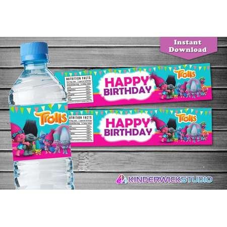 Trolls Water Bottle Label, Trolls Birthday Water Bottle Label, Trolls Label, Trolls Party Supply, Trolls Birthday tag, Trolls Birthday Label thumb