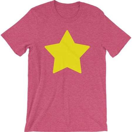 Steven Universe Star Shirt Cosplay Short-Sleeve Unisex T-Shirt in Pink Yellow Star on Pink Shirt Halloween Costume Tee Shirt thumb