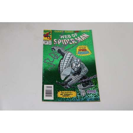 Web of Spider-Man 100 Comic Book Vintage 1993 Spiderman Green Foil Venom Carnage thumb