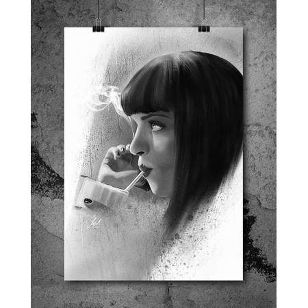 Mia Wallace, Uma Thurman, Pulp Fiction, Artwork, Handmade, Printable Art, Poster, Instant Download, Digital Print, Decor, Wall Art, Download thumb