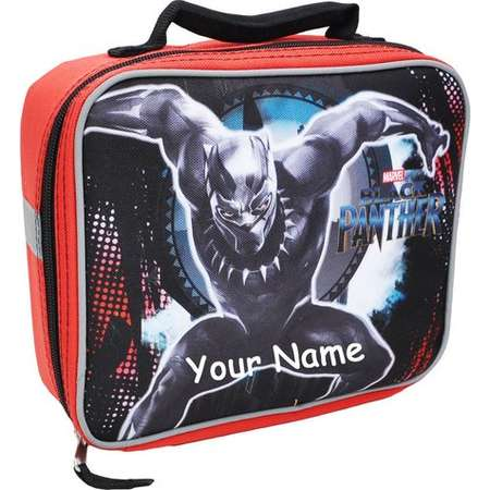 Personalized Monogrammed Marvel Comic Black Panther Black and Red Lunchbox Lunch Bag Tote with Safety Reflective Strips with Embroidery thumb
