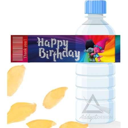 Trolls Inspired Water Bottle, Label Trolls Bottle ,Label Trolls Water Bottle, Label Trolls Birthday Party Trolls Party Supplies Trolls Label thumb