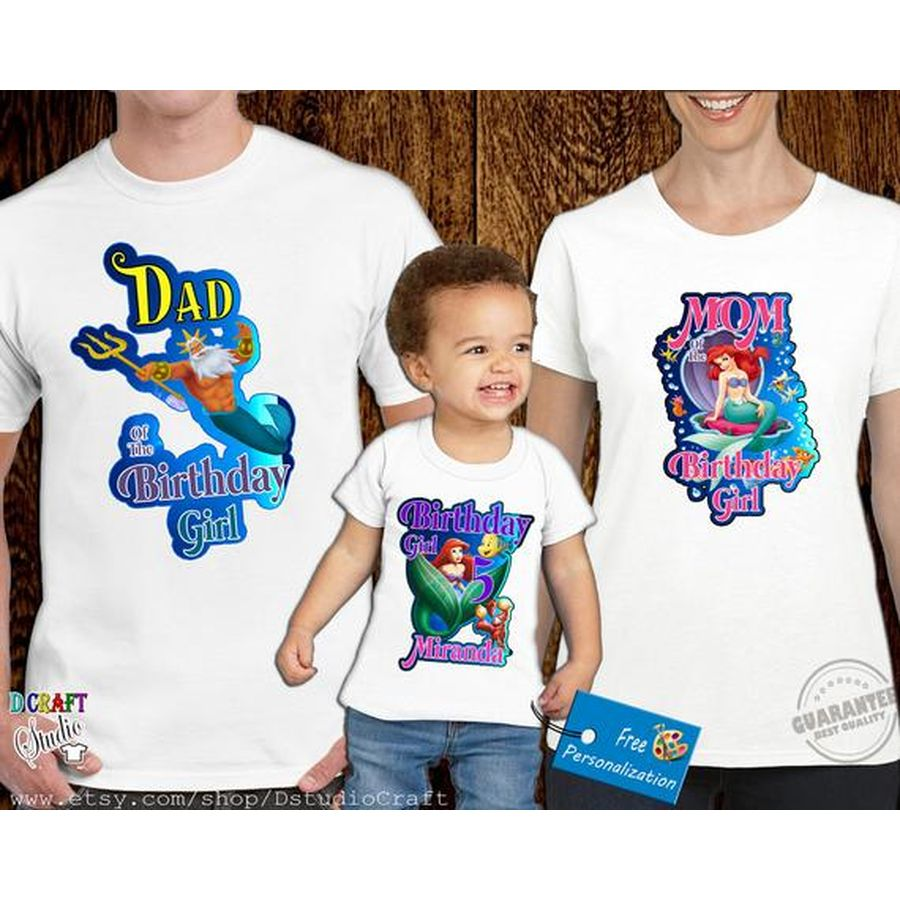Little Mermaid Ariel Personalized Birthday Party Girl Shirt Family Birthday Shi