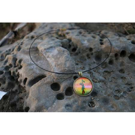 Hand-Painted Bob Ross Inspired Happy Trees Choker Necklace Sunrise ∞ Sunset / Hand Painted Pendant thumb