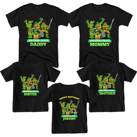 Teenage Mutant Ninja Turtles Birthday Shirt Custom  T-Shirt Name and Age Personalized TMNT Birthday Shirts Family Birthday T-Shirts thumb