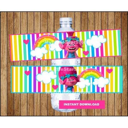 Poppy Trolls bottle labels, Printable Trolls water bottle labels, Trolls party water labels Instant download thumb
