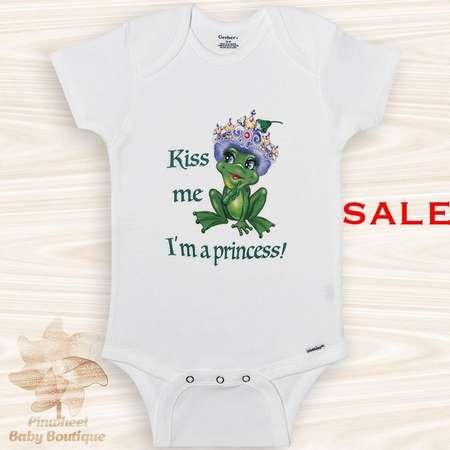 Sale Onesie Frog Onesie® Frog Baby Clothes Funny Baby Girl Onesie Kiss Me I'm a Princess Onesie Animal Onesie Cute Baby Onesie  24 Months thumb