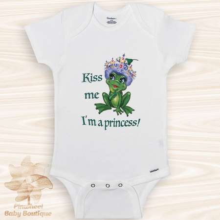 Frog Onesie® Frog Baby Clothes Funny Baby Girl Onesie Kiss Me I'm a Princess Onesie Baby Shower Gift Animal Onesie Frog Shirt Newborn Outfit thumb