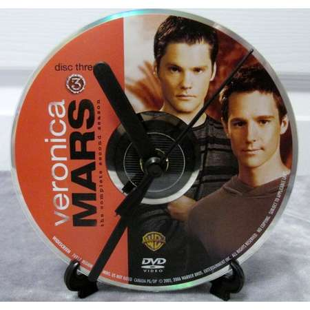 Veronica Mars DVD Clock Upcycled TV Show - Logan & Duncan (Season 2, Disc 3) thumb