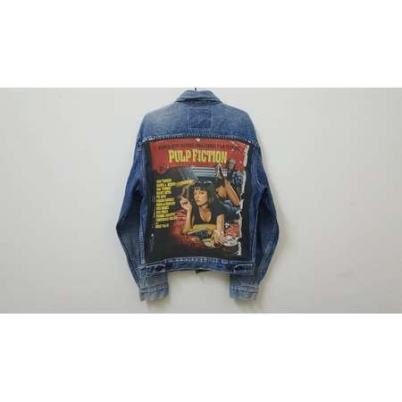 Vintage 90s Levis trucker jacket custom patch with vintage 90s 1994 PULP FICTION t shirt cut hype dope swag hip hop rap rare style thumb