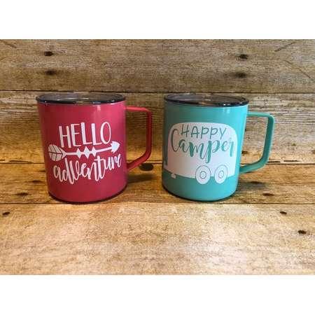 Custom Coffee Mug, Happy Camper Coffee Mug, Hello Adventure Camping Mug, Personalized Coffee Mug, Hot Coco Mug thumb