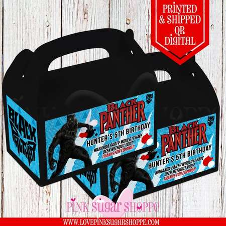 Black Panther Favor Bags - Custom Gable Box - Black Panther - Black Panther Labels - Black Panther Gable - Printable - Printed -Goodie Boxes thumb