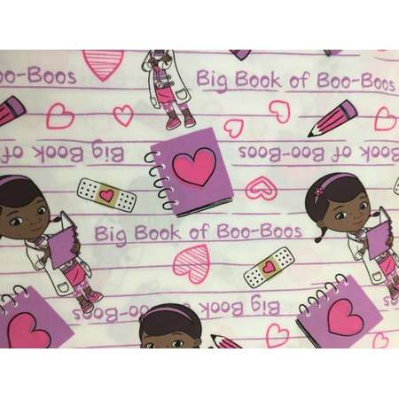 Doc Mcstuffins Fabric Book of BooBoos pink on White Poly/cotton Character Fabric Springs Creative Juvenile Girl Fabric thumb
