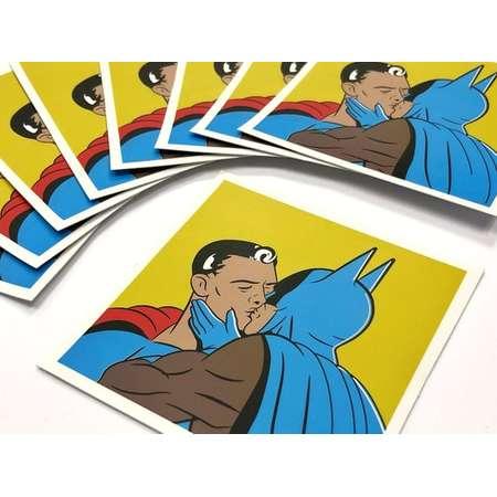 Batman KISSES Superman - Suitcase Laptop Stickers Planner Sticker Batman Superman Kiss Funny Comic Retro Vinyl Sticker Gift for him thumb