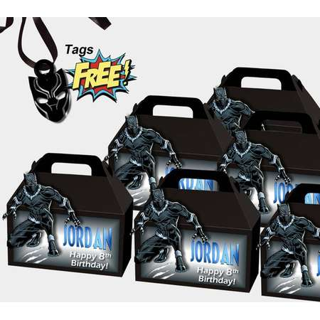 Black Panther Favor Box / Party Supplies /Black Panther Favor Bag / Personalized Box / Black Panther Favors thumb