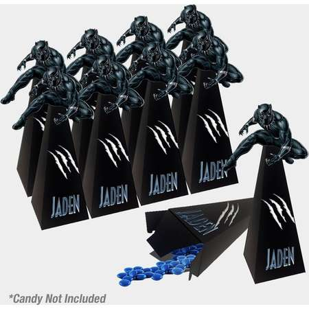 Black Panther Cone Box / Black Panther Favor Box / Black Panther Party Supplies / Personalized Box / Black Panther thumb