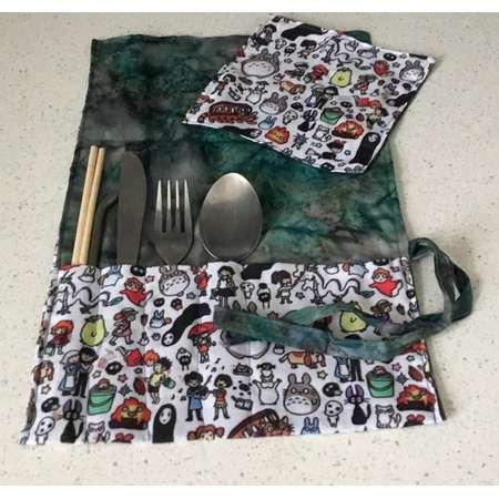 Cutlery Wrap / Roll - Studio Ghibli or Pokemon thumb