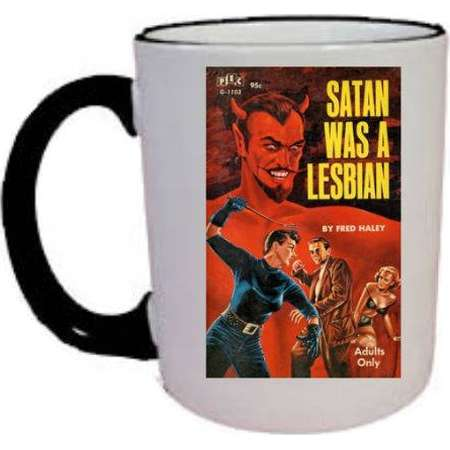 Satan Was A Lesbian Coffee Mug, 11 oz  Black & White coffee mug with Pulp Fiction cover image. Great way to start your day! thumb